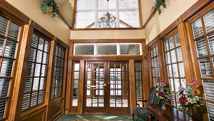 Stately Pinnacle entryway with intercom door release