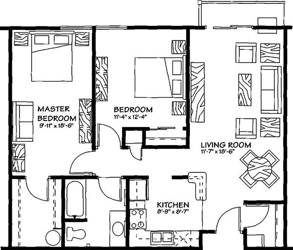 2 Bedroom, 1 Bath - 904 Sq. Ft. - Section 42 Unit - The Centennial