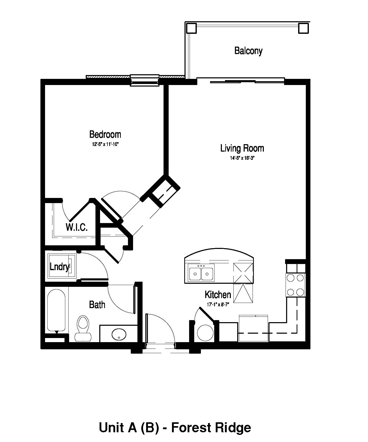 1 Bedroom, 1 Bath - 804 Sq. Ft. - Forest Ridge Expansion