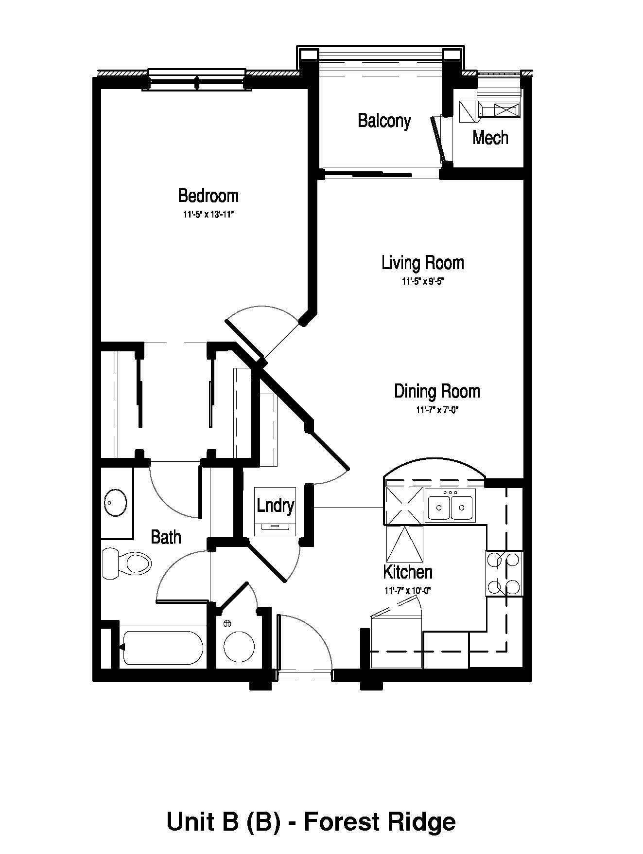 1 Bedroom, 1 Bath - 761 Sq. Ft. - Forest Ridge Expansion