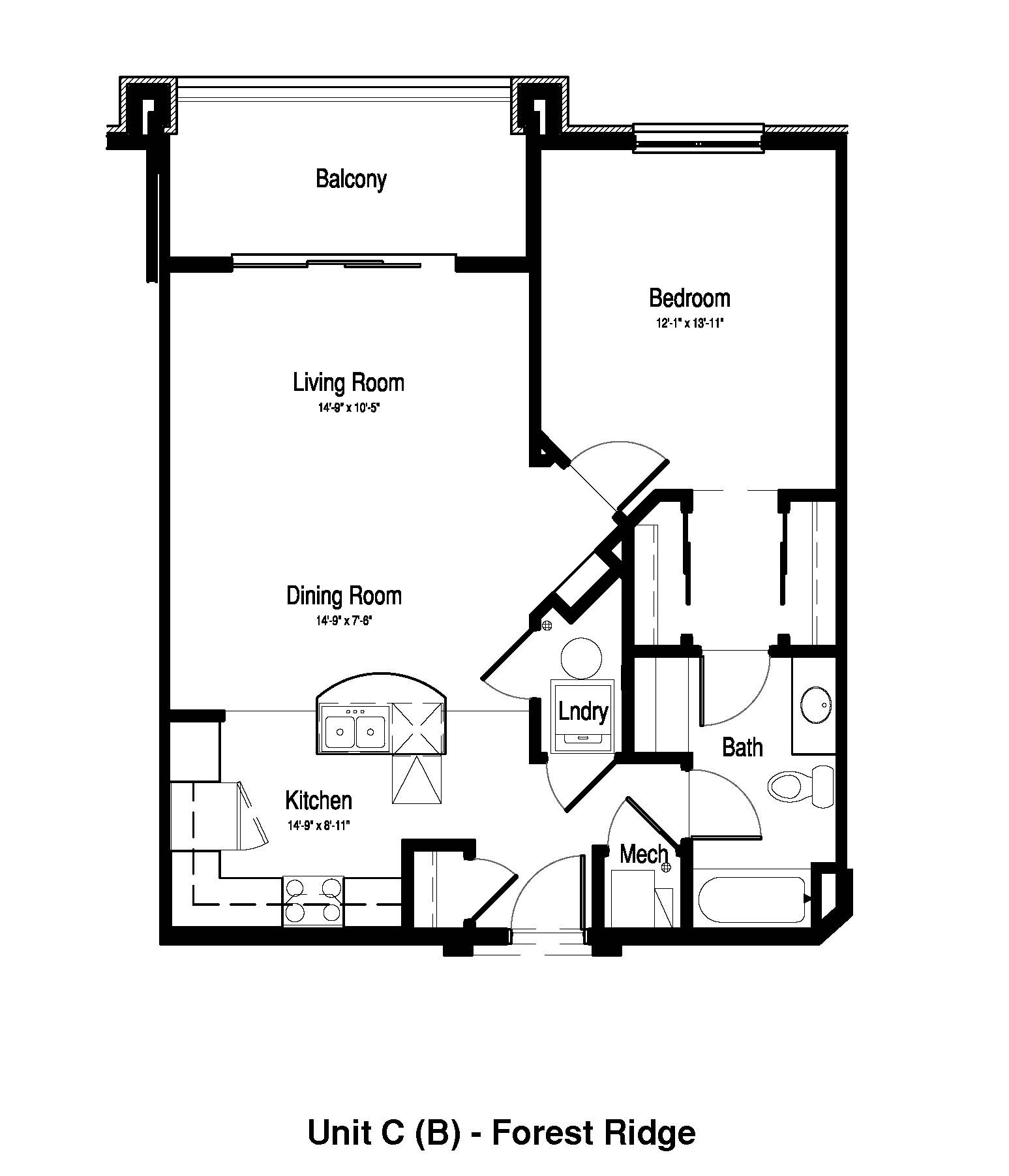 1 Bedroom, 1 Bath - 869 Sq. Ft. - Forest Ridge Expansion