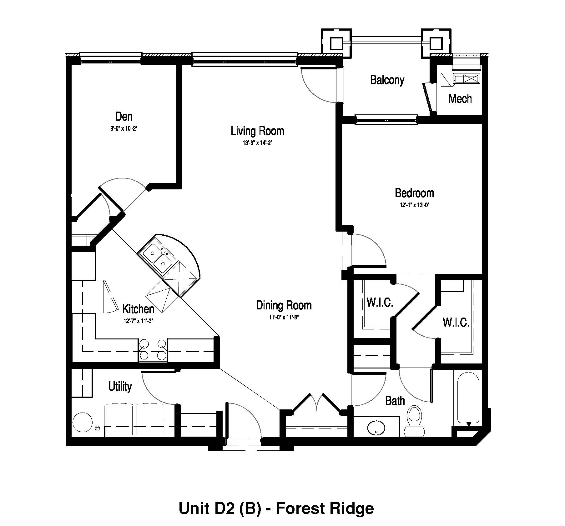 1 Bedroom, 1 Bath + Den - 1,147 Sq. Ft. - Forest Ridge Expansion