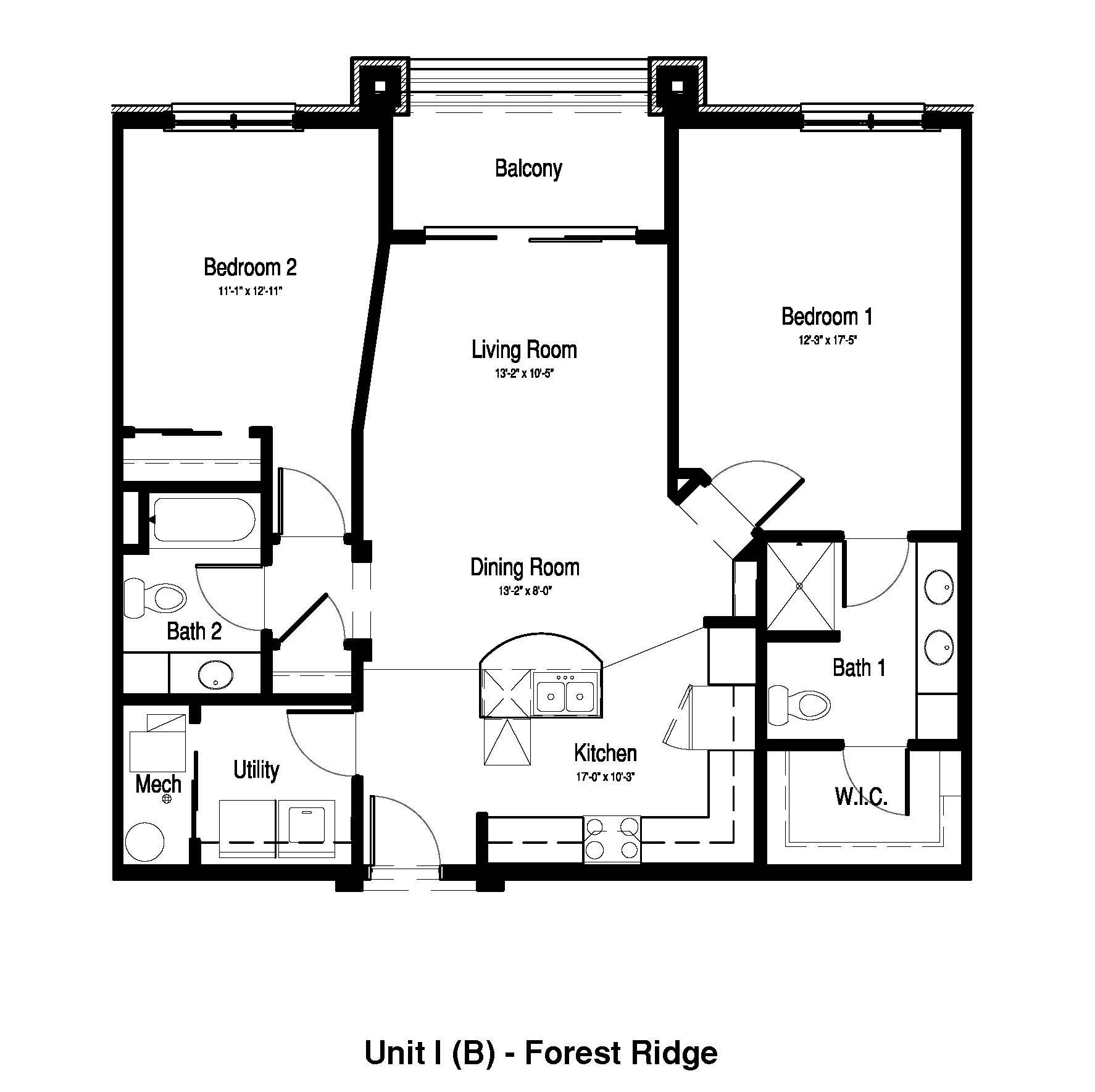 2 Bedroom, 2 Bath - 1,164 Sq. Ft. - Forest Ridge Expansion