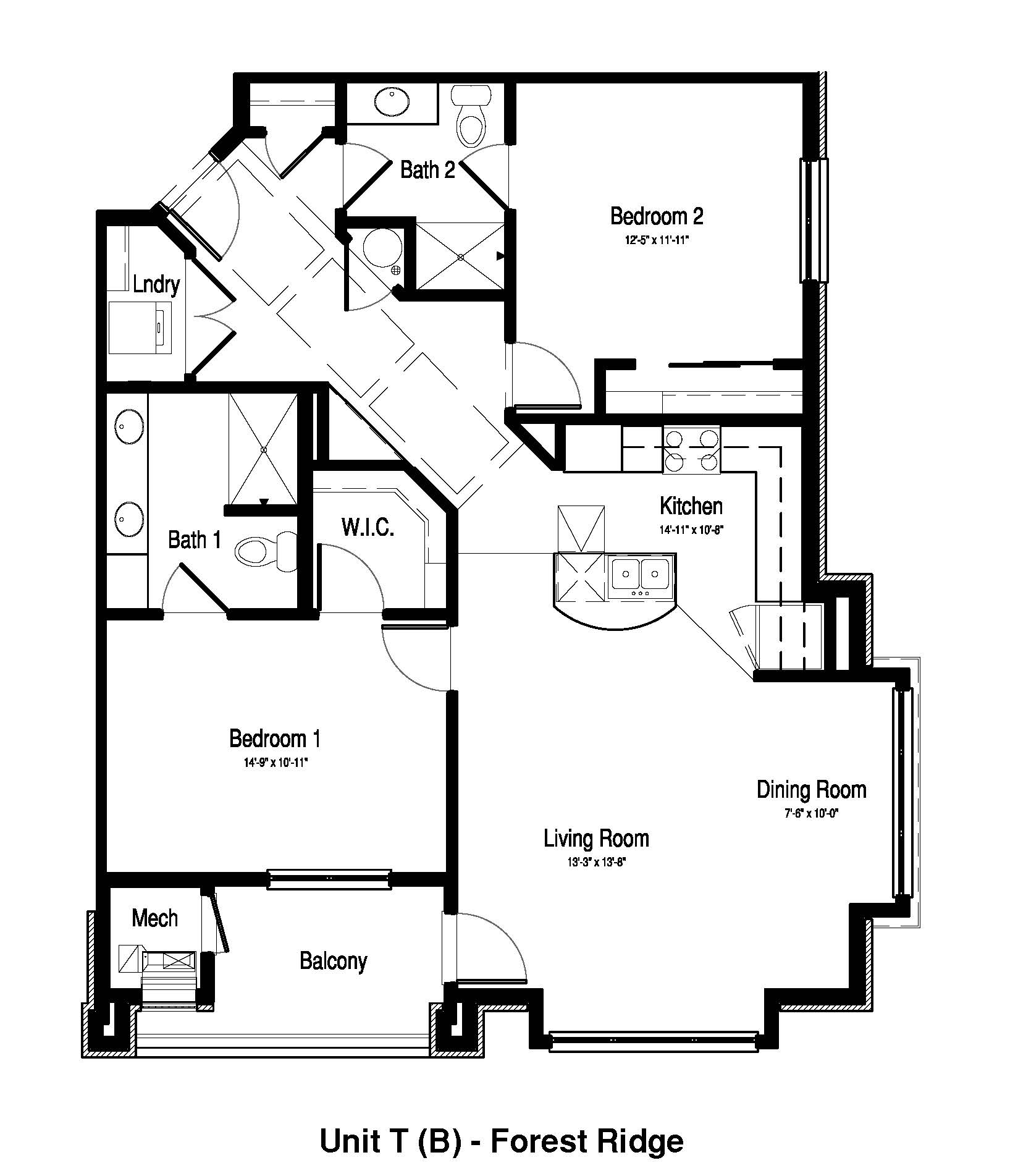 2 Bedroom, 2 Bath - 1,244 Sq. Ft. - Forest Ridge Expansion