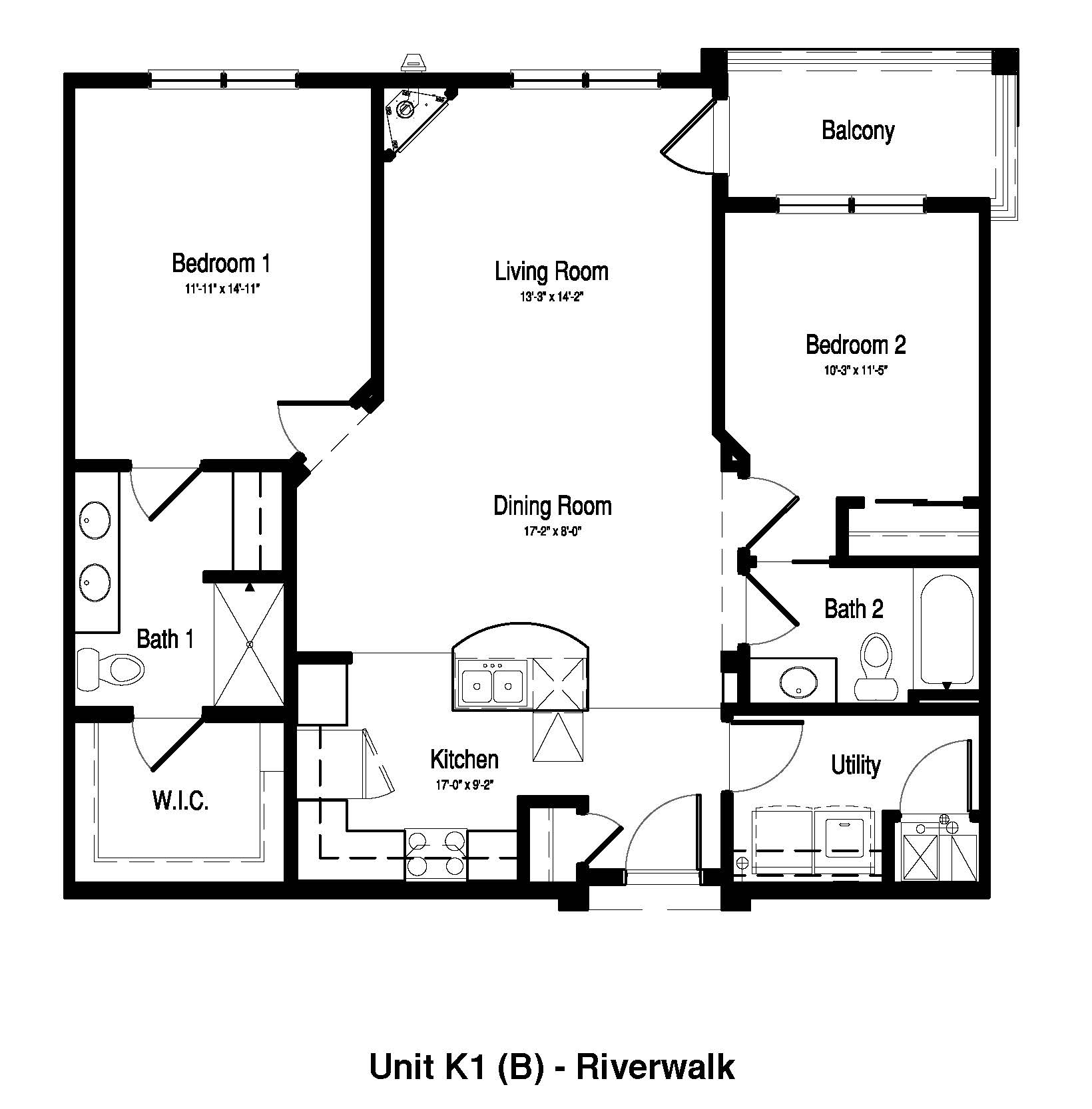 2 Bedroom, 2 Bath - 1,167 Sq. Ft. - RiverWalk on the Falls