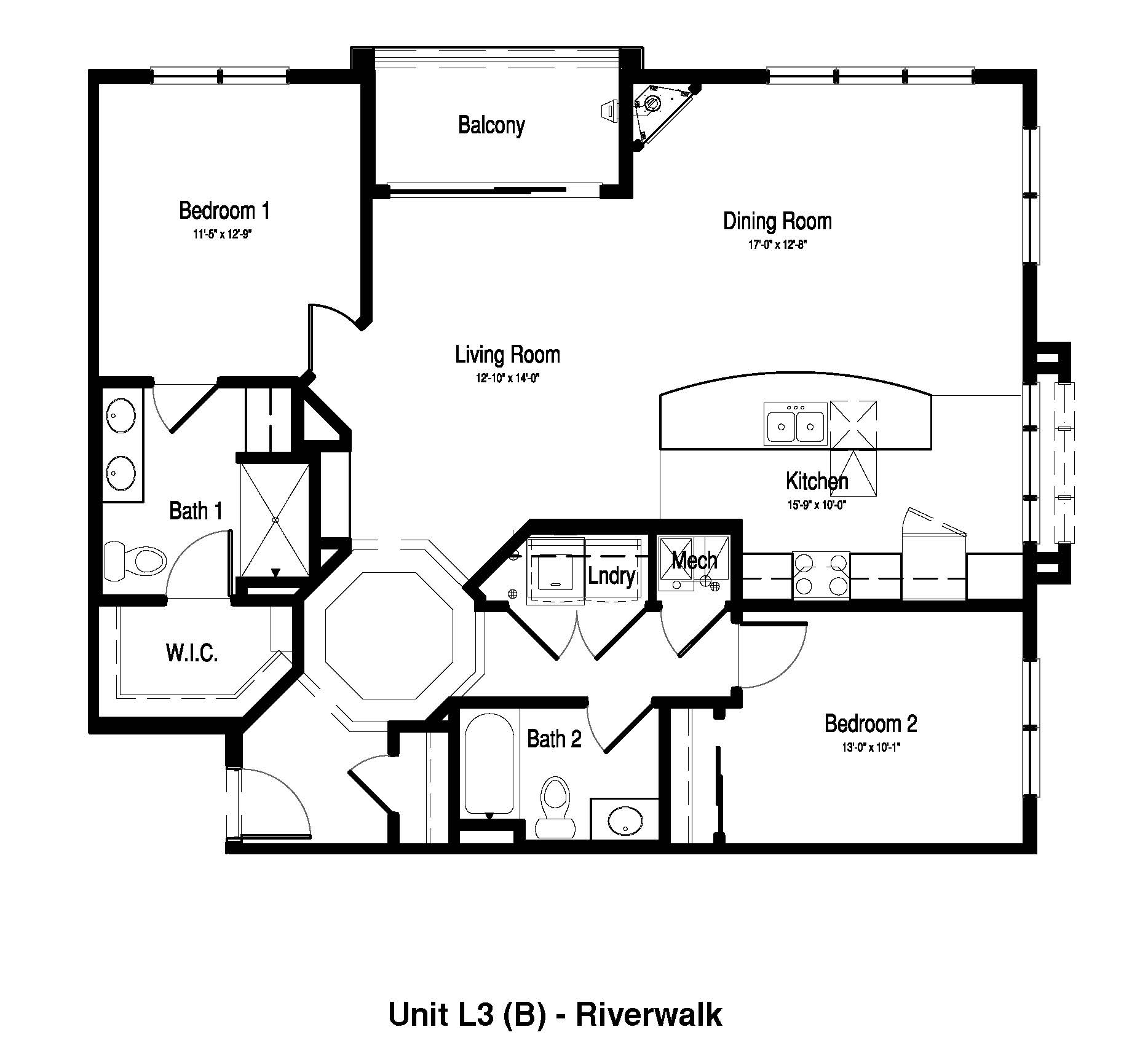 2 Bedroom, 2 Bath -  1,329 Sq. Ft. - RiverWalk on the Falls
