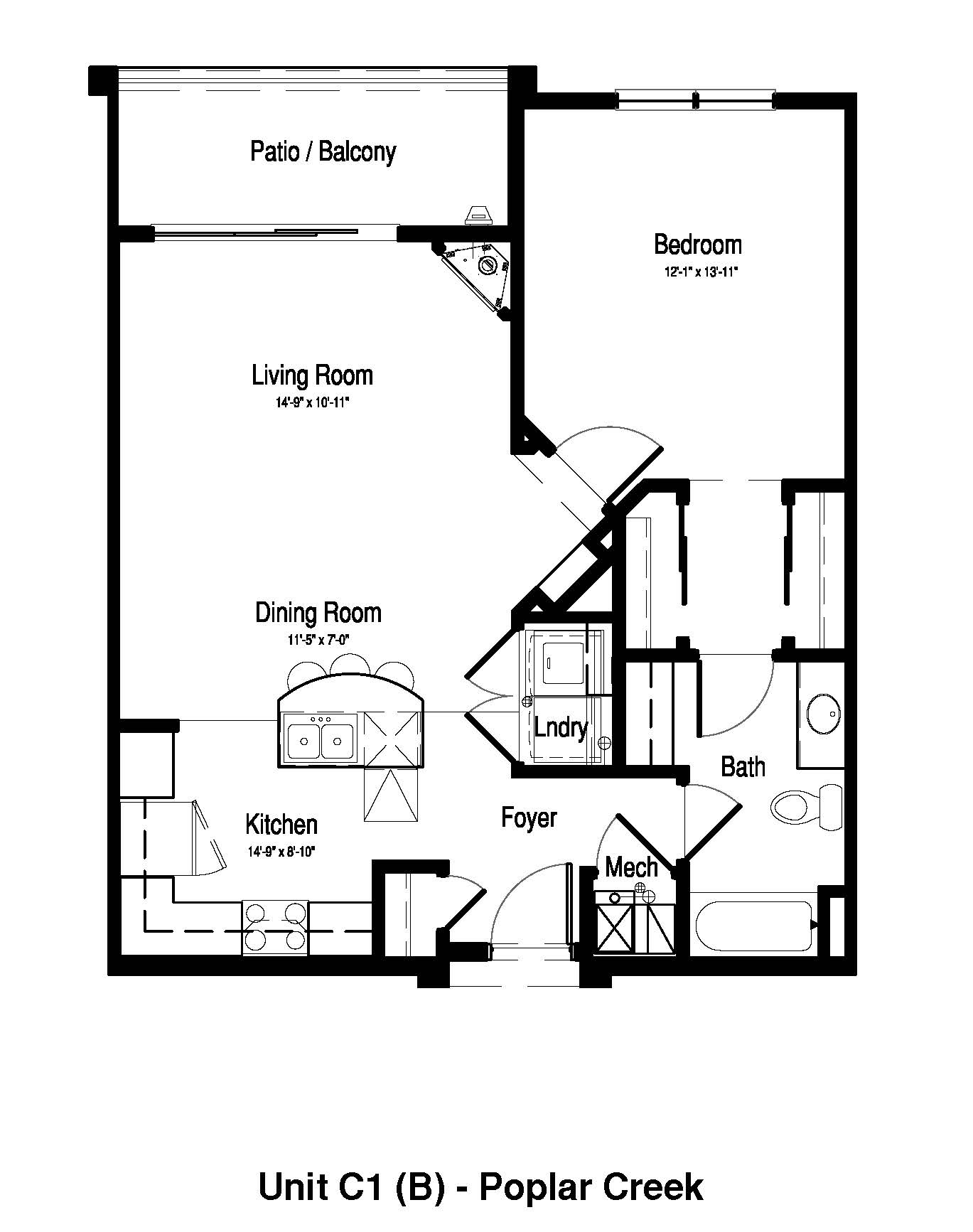 1 Bedroom, 1 Bath - 849 Sq. Ft. - Poplar Creek