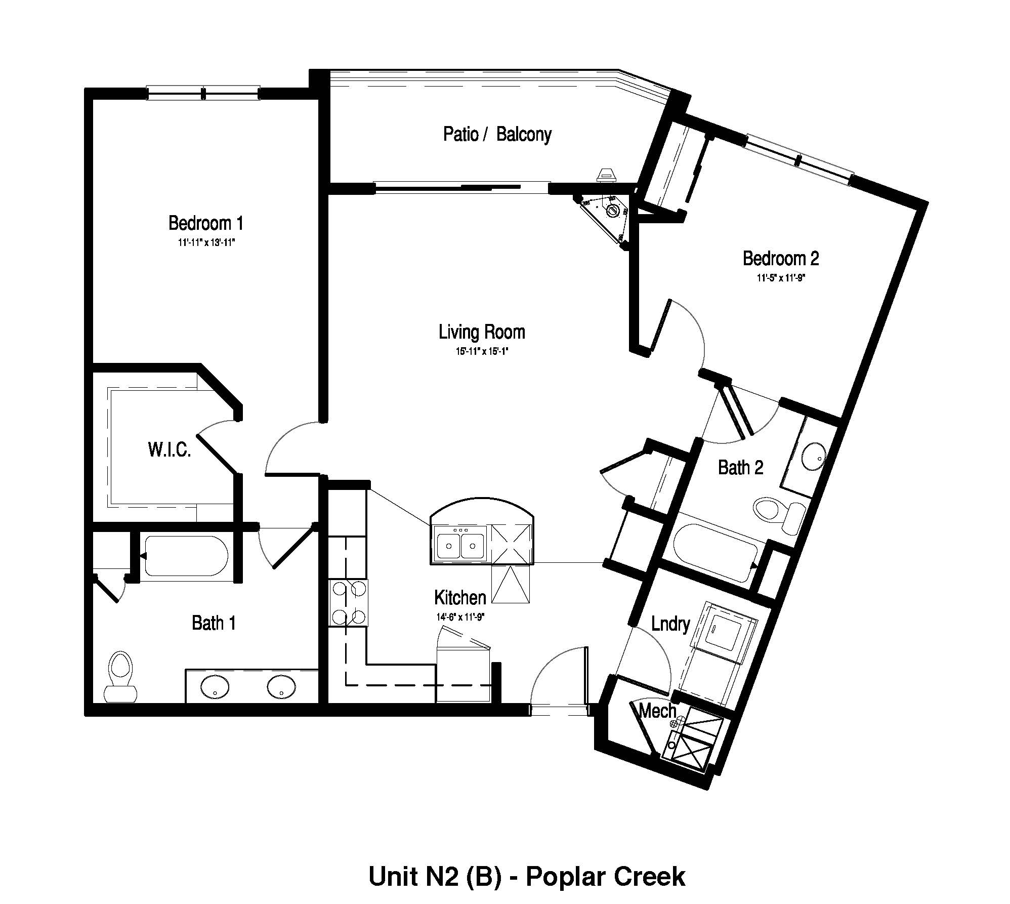 2 Bedroom,  2 Bath - 1,221 Sq. Ft. - Poplar Creek