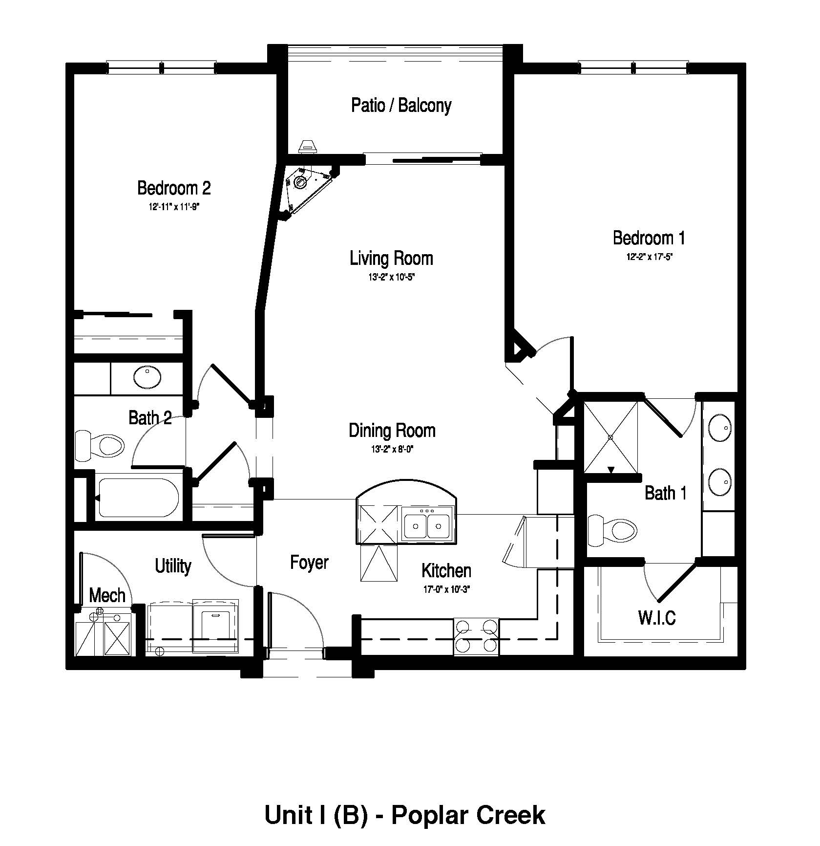 2 Bedroom,  2 Bath - 1,091-1,099 Sq. Ft. - Poplar Creek