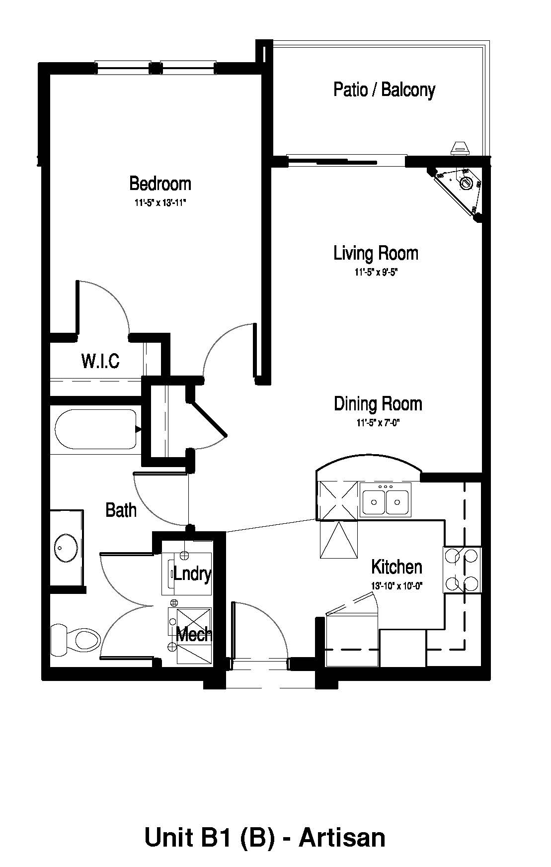 One Bedroom, One Bath - 734 Sq. Ft. - The Artisan at Georgetown Square