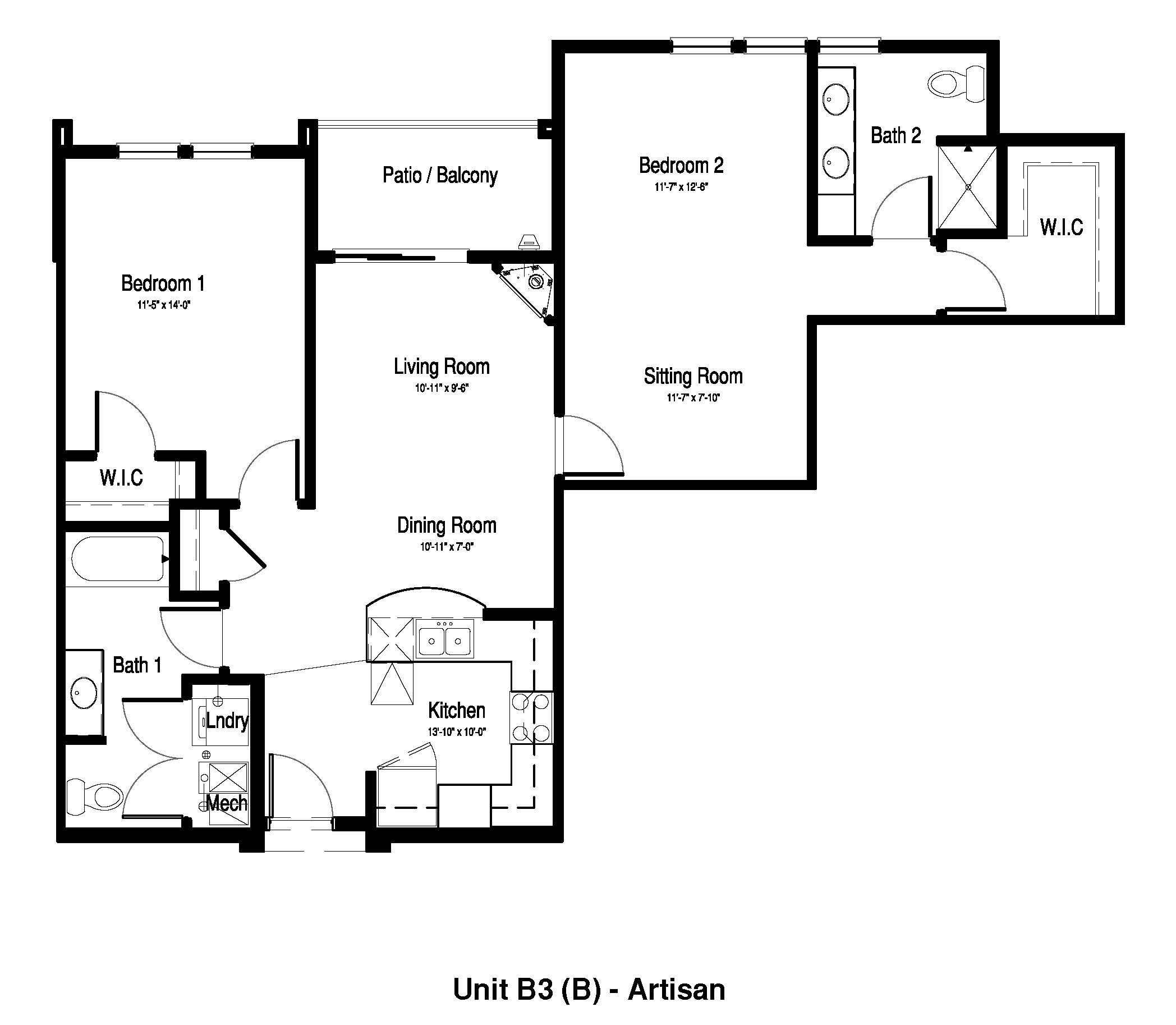 Two Bedroom, Two Bath + Sitting Room - 1,163 Sq. Ft. - The Artisan at Georgetown Square