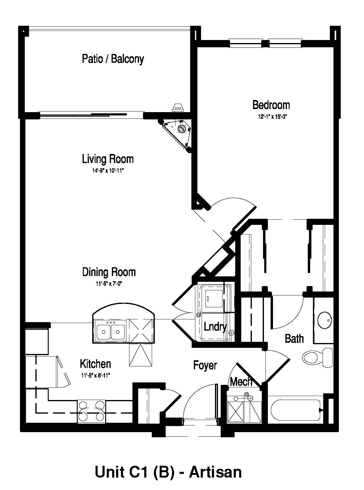 One Bedroom, One Bath - 866 Sq. Ft. - The Artisan at Georgetown Square