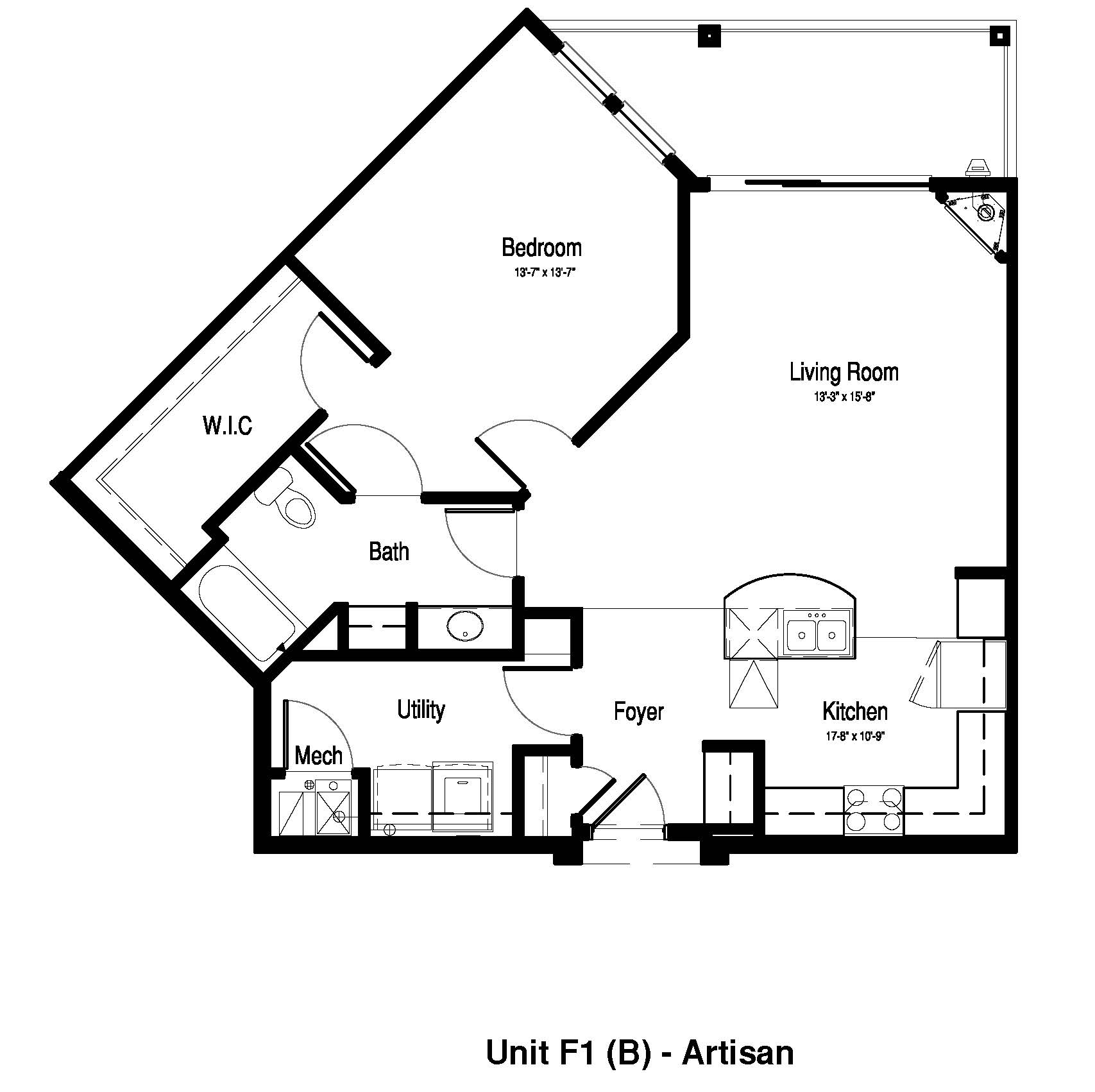 One Bedroom, One Bath - 996 Sq. Ft. - The Artisan at Georgetown Square