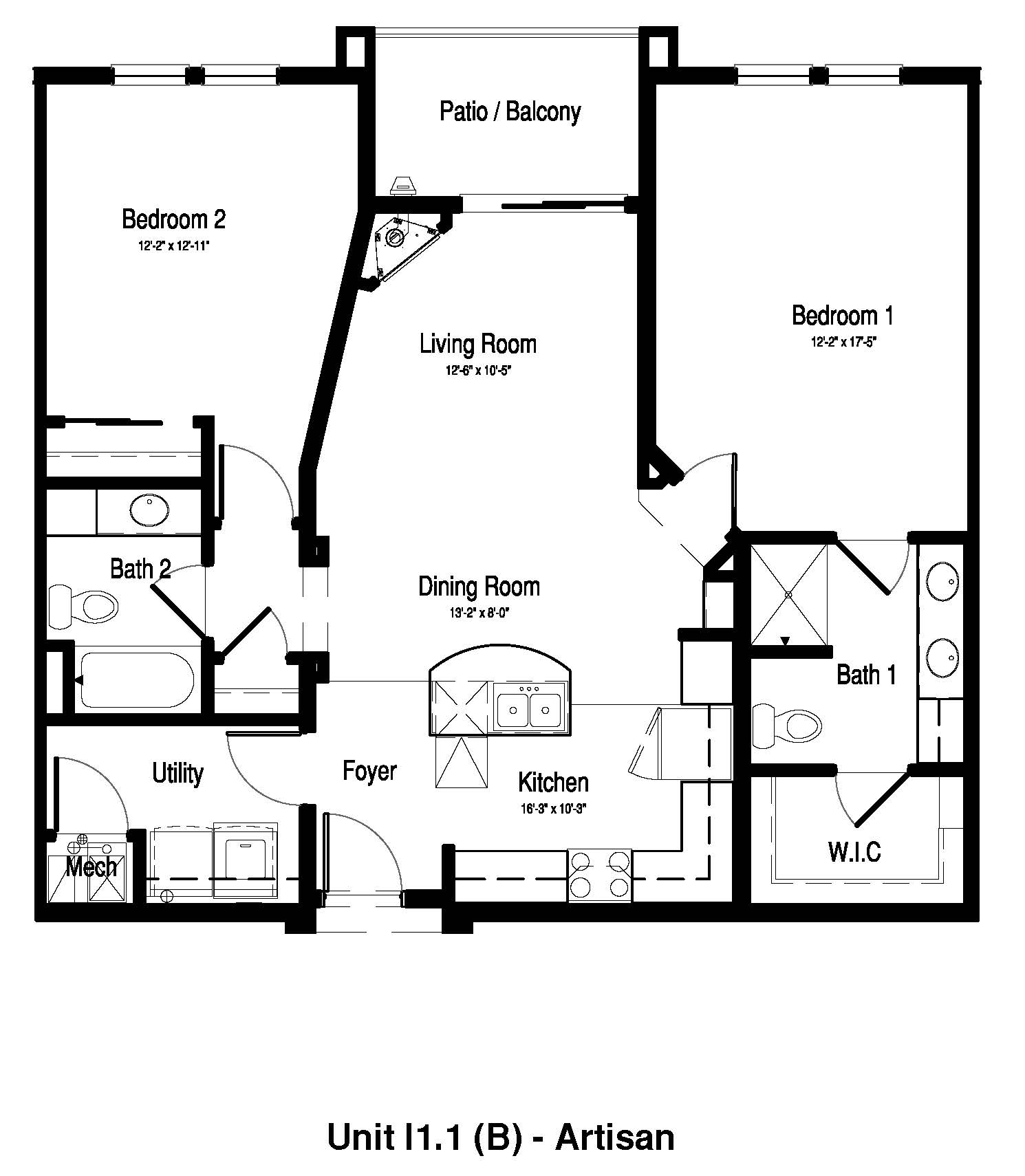 Two Bedroom, Two Bath - 1,153 Sq. Ft. - The Artisan at Georgetown Square