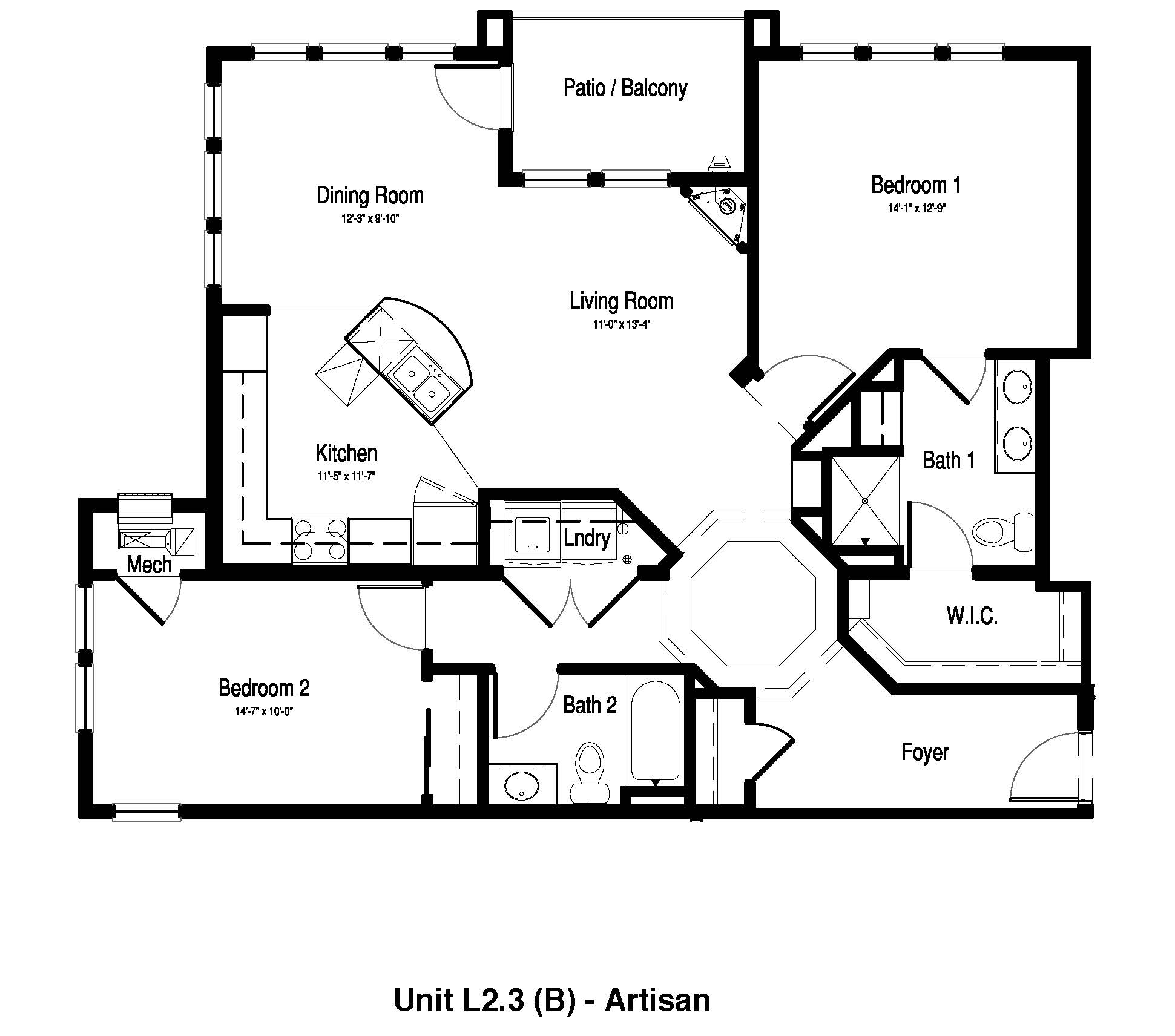 Two Bedroom, Two Bath - 1,222 - 1,325 Sq. Ft. - The Artisan at Georgetown Square