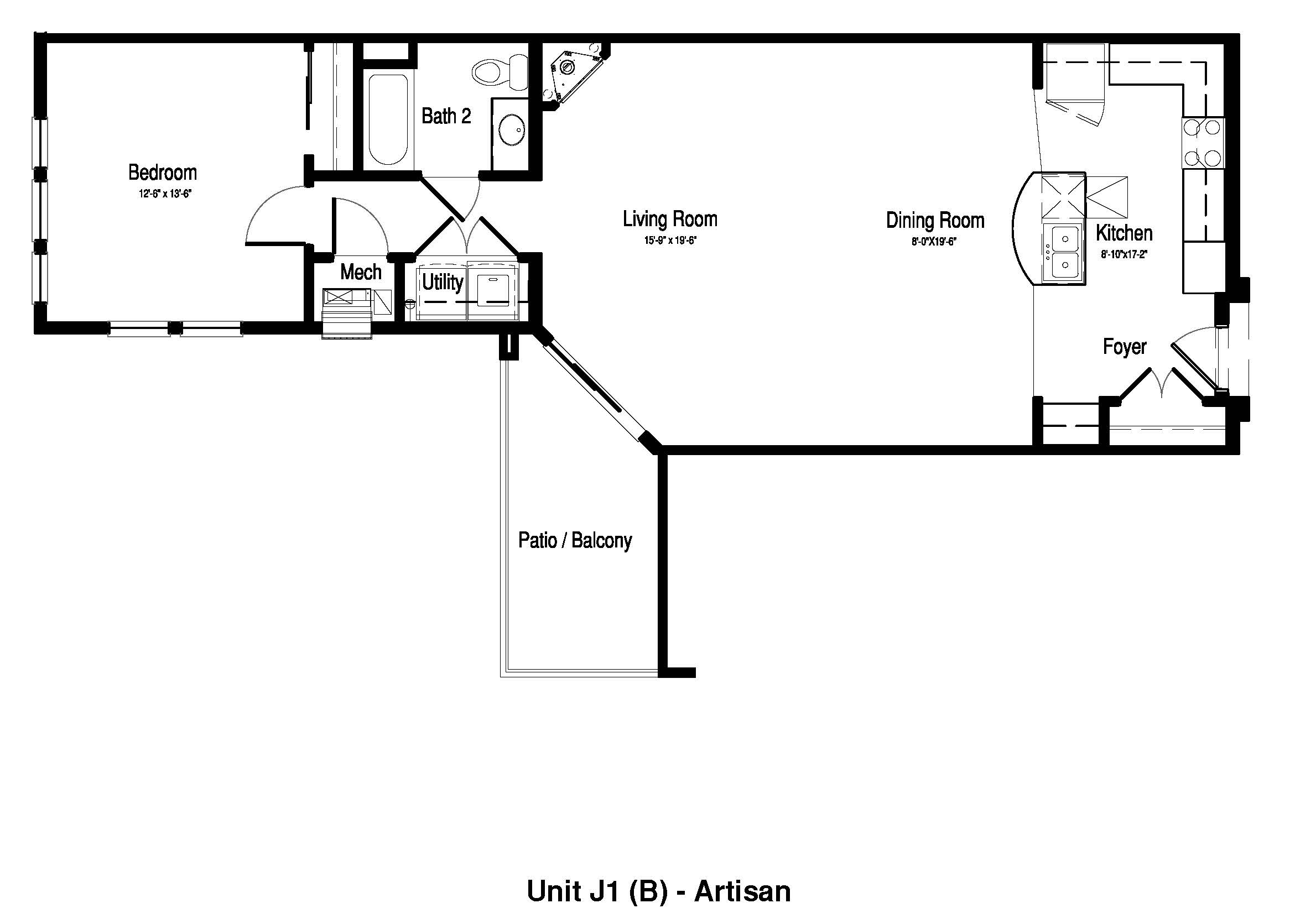One Bedroom, One Bath - 1,063 - 1,101 Sq. Ft. - The Artisan at Georgetown Square