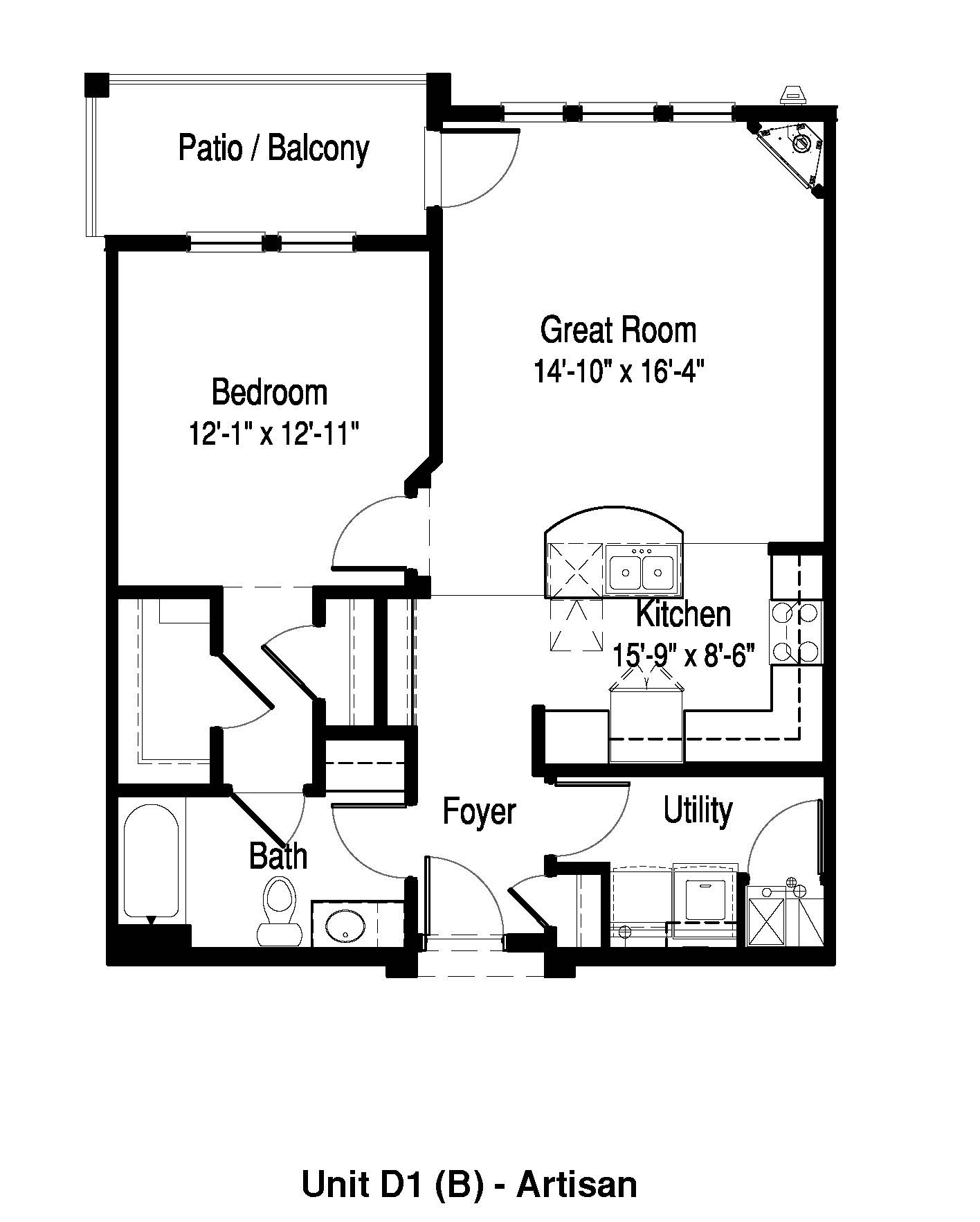 1 Bedroom, 1 Bath - 865 Sq. Ft. - The Artisan at Georgetown Square