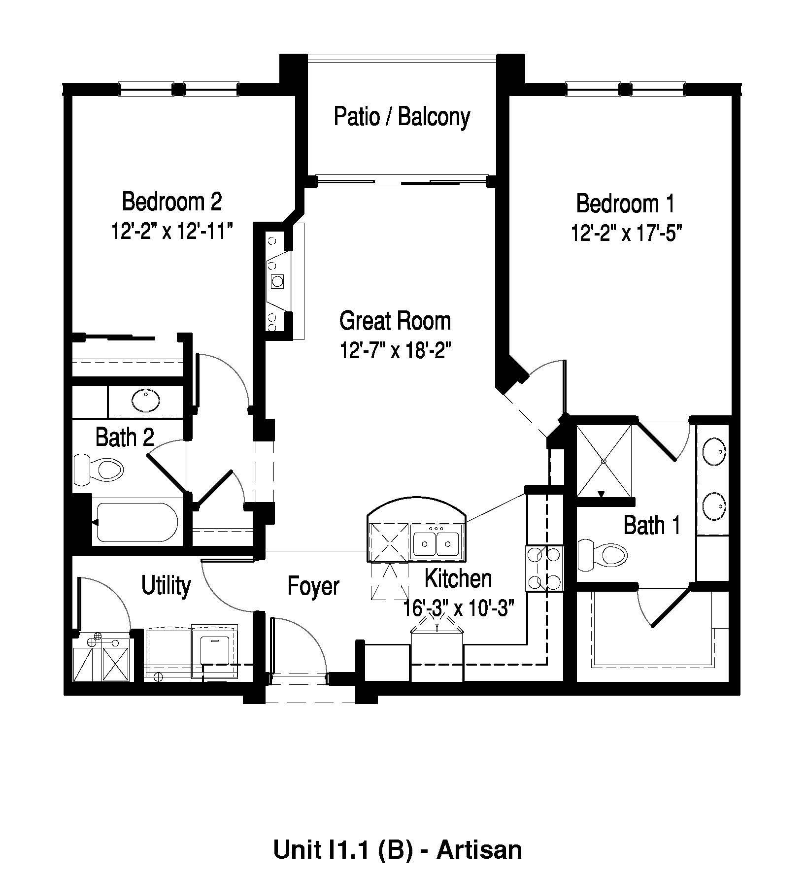 2 Bedroom, 2 Bath - 1,153 Sq. Ft. - The Artisan at Georgetown Square