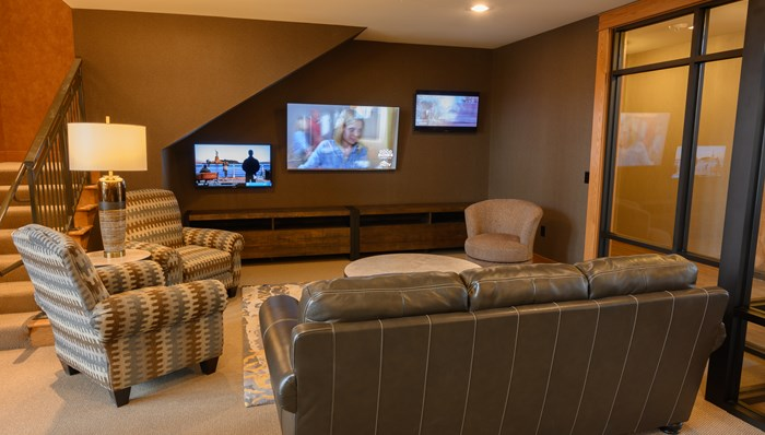Watch TV in the Media Room, or Fitness Room with personal screens