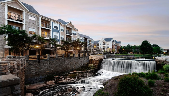 RiverWalk on the Falls Apartments Overlooking the Mill Pond and Falls of the Menomonee River