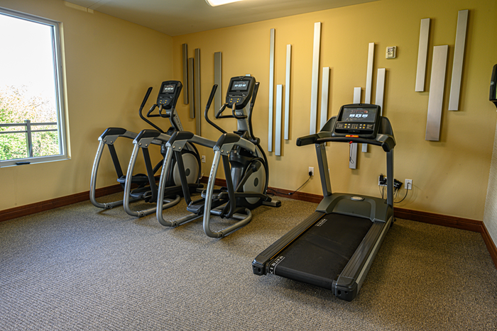 Fitness Room equipment with personal media screens